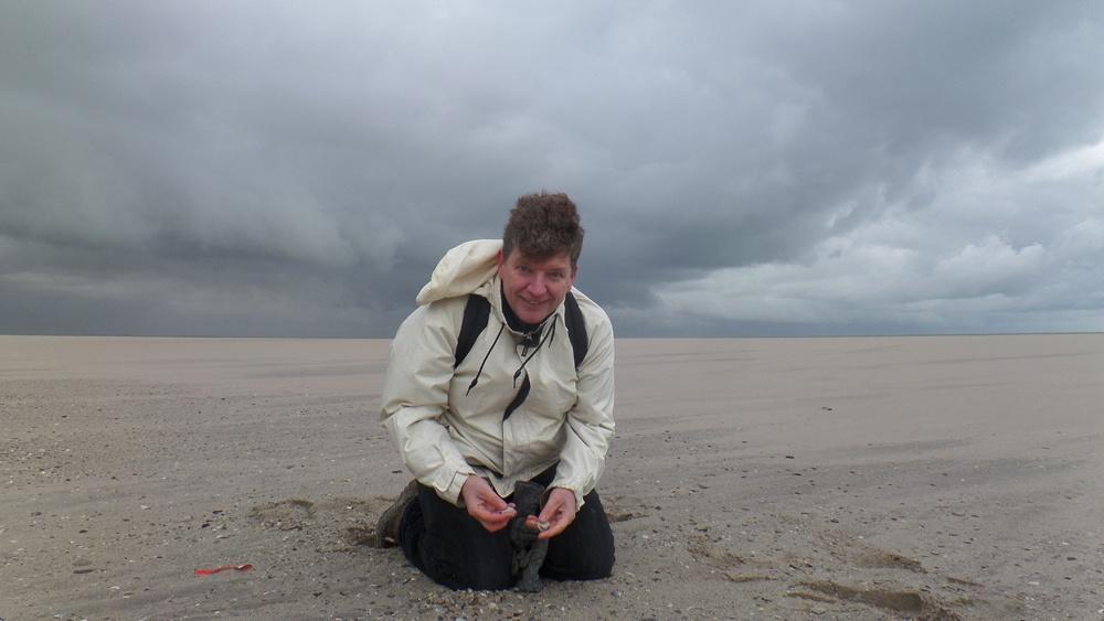 Frank Wesselingh op de Tweede Maasvlakte - foto van Vroege Vogels